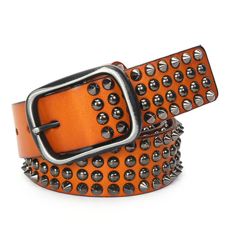 Riveted Real Leather Pin Belt for Men and Women / Rock Style Genuine Leather Belts - HARD'N'HEAVY