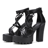 Rock Chick Woman Platform Sandals / Open Toe High Heels Pentagram Zipper Leather Ladies Goth Shoes