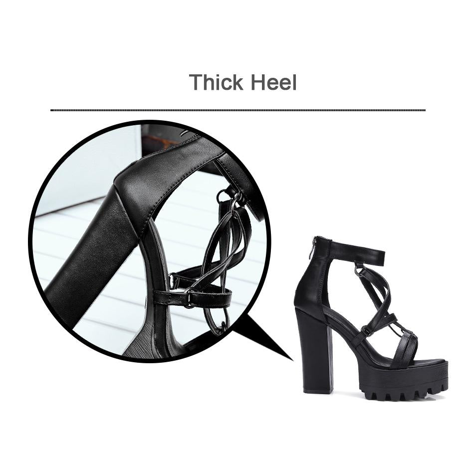 Rock Chick Woman Platform Sandals / Open Toe High Heels Pentagram Zipper Leather Ladies Goth Shoes - HARD'N'HEAVY