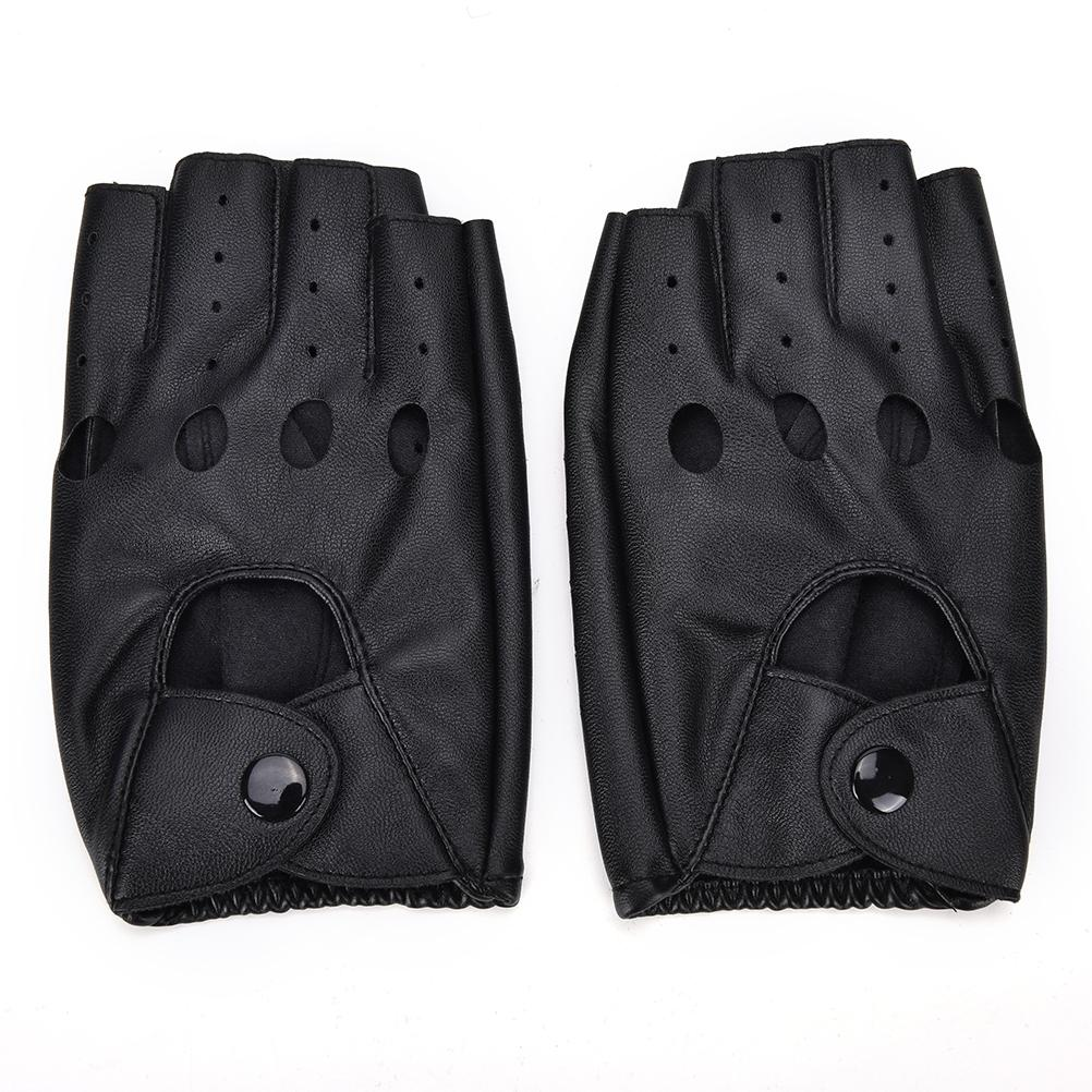 Rock Fashion motor Gloves / Unisex Punk Black PU Leather Fingerless Solid Half Finger Women Men - HARD'N'HEAVY