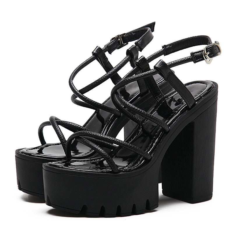 Rock Fashion Women Shoes Heels / Open Toe Thick Heel / Black Rome Platform Sandals in Gothic Style - HARD'N'HEAVY