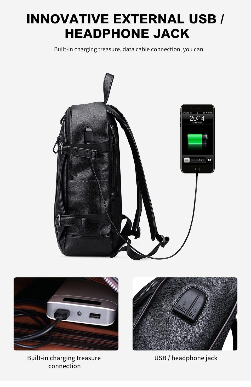 Rock Style Backpacks with External USB Charge - HARD'N'HEAVY
