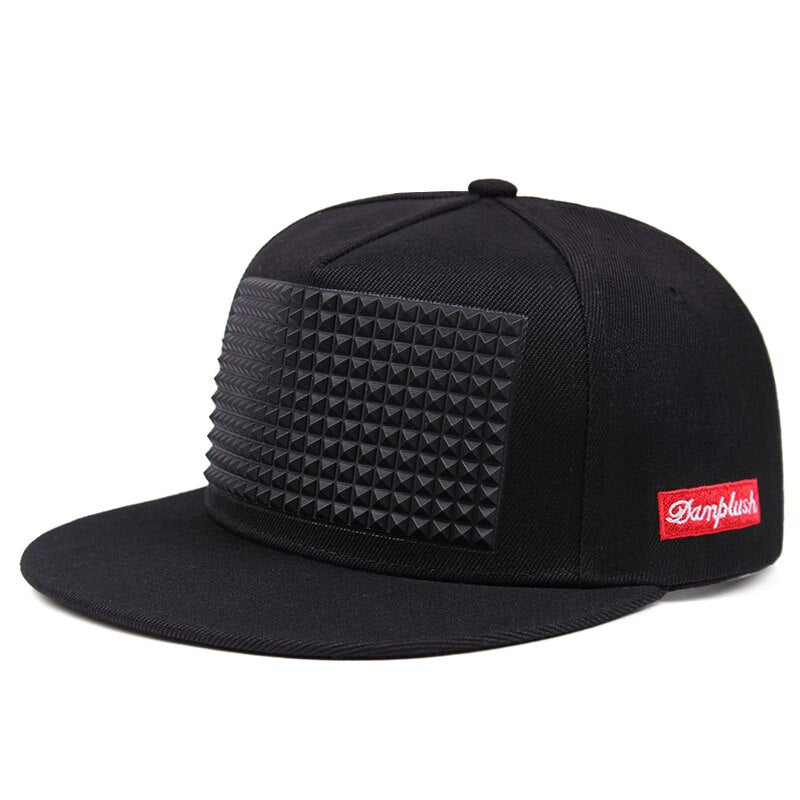 Rock Style Baseball Cap with Plastic Spikes / Flat-brimmed snapback hat for men & women - HARD'N'HEAVY