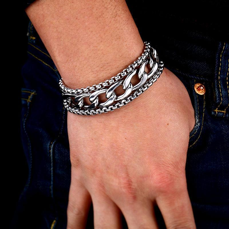 Rock Style Chain Wide Bracelet bangle fashion personality stainless steel Jewelry - HARD'N'HEAVY