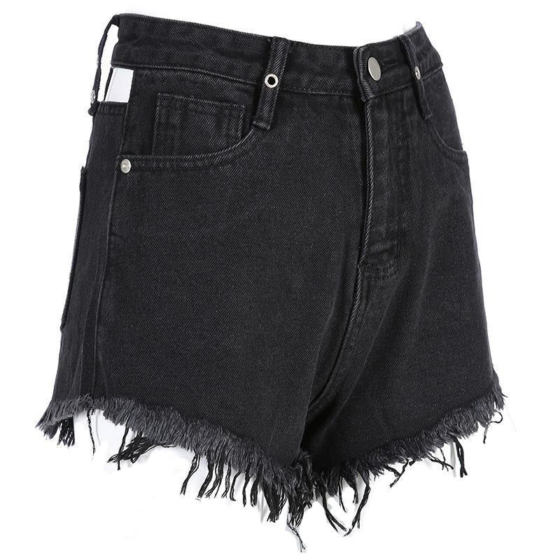 Rock Style Denim Short Shorts for Women / High Waist Sexy Hollow Back Shorts - HARD'N'HEAVY
