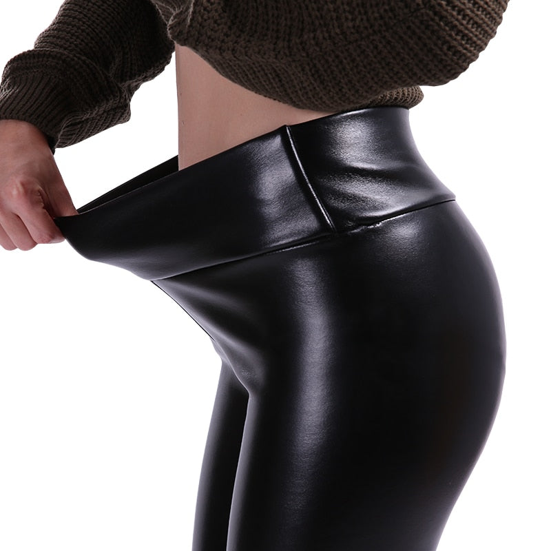 Rock Style Leather Leggings for Women / High Waist Stretch Slim Black PU Leather Pants - HARD'N'HEAVY
