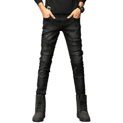 Rock Style Men Jeans / Ripped Denim Skinny Biker Pants / Grunge Look