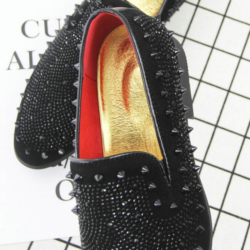 Rock Style Men Loafers / Shoes with Rhinestone Rivets / Edgy Clothing - HARD'N'HEAVY