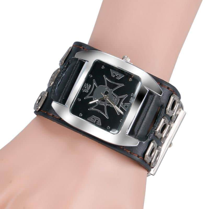 Rock Style Metal Watch with Skull / Metal Hollow Leather Strap Watches - HARD'N'HEAVY