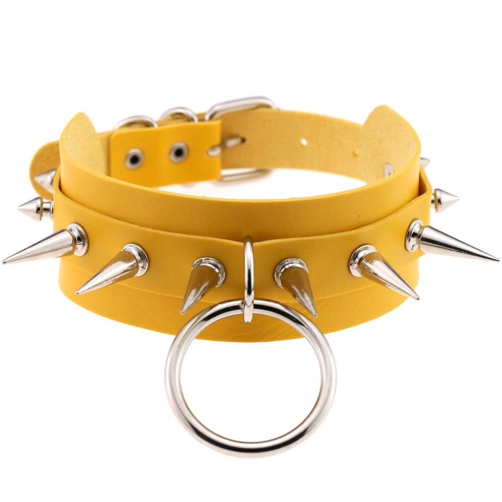 Rock Style O-Round Chokers for Women and Men / Leather Chokers with Spike Rivets - HARD'N'HEAVY