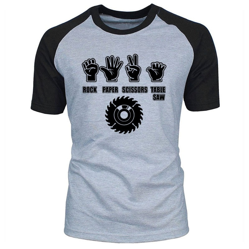 Rock Style Paper Scissors Saw Funny T-Shirt / Men Streetwear Cotton Tees - HARD'N'HEAVY