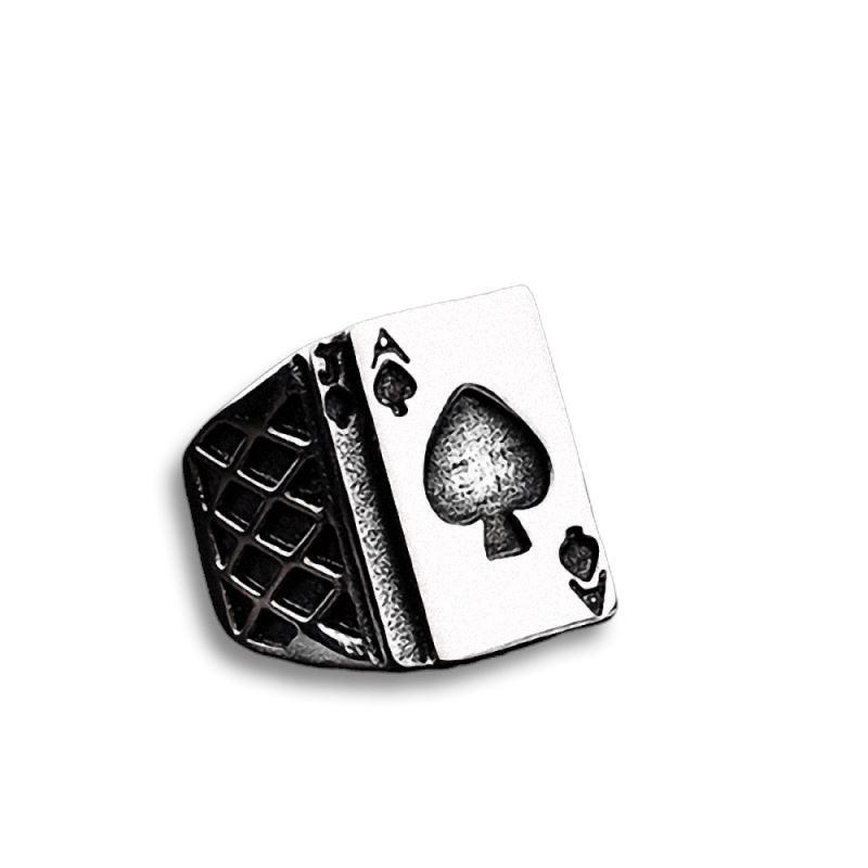 Rock Style Poker Letter A Stainless Steel Ring / Alternative Fashion Finger Titanium Jewelry - HARD'N'HEAVY
