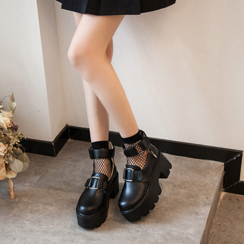 Rock Style Round Toe / Women's Chunky Pumps Shoes / Gothic Fashion Outfit - HARD'N'HEAVY