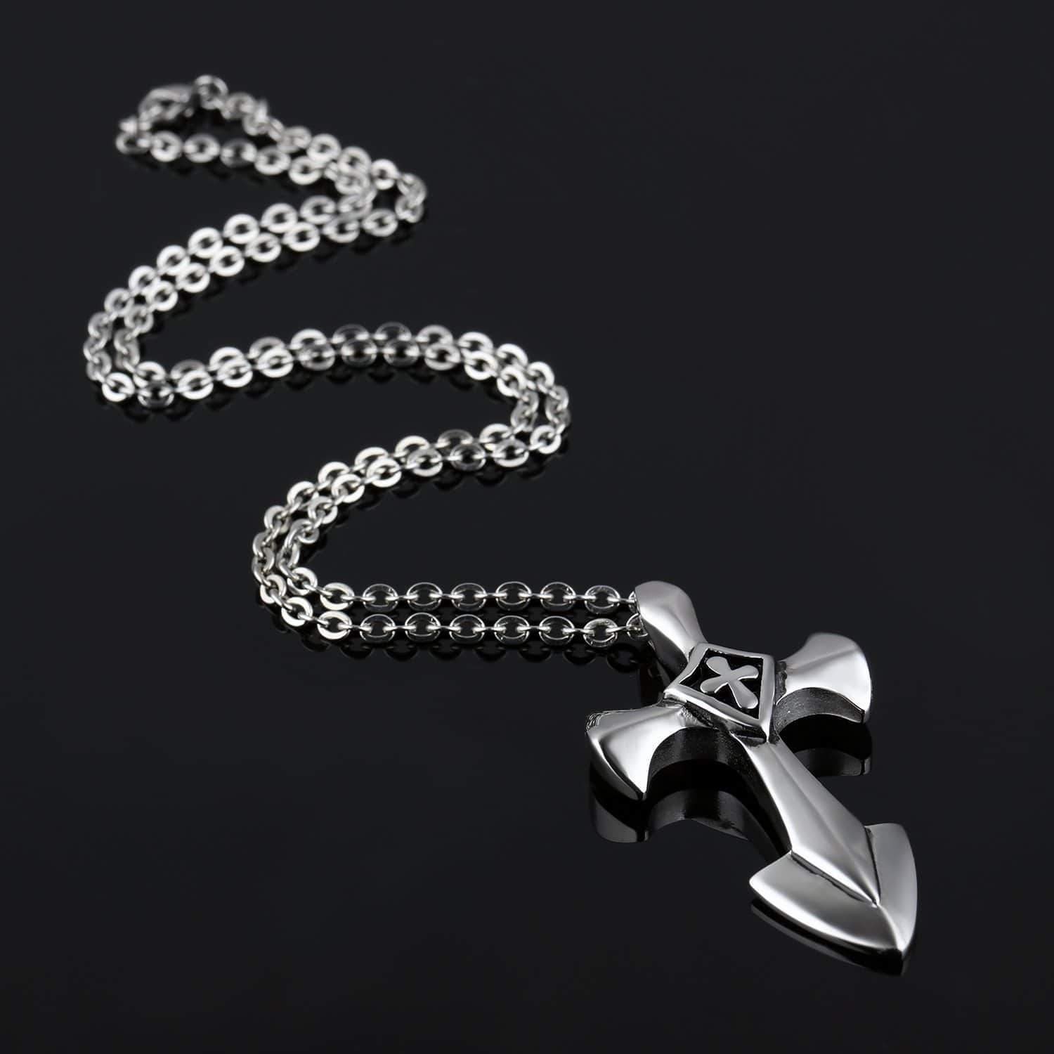 Rock Style Stainless Steel Cross Pendant With 50cm Link Chain / Alternative Jewelry - HARD'N'HEAVY