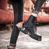 Rock Style Women Ankle Boots / Black High Platform Boots / Military Alternative Fashion - HARD'N'HEAVY