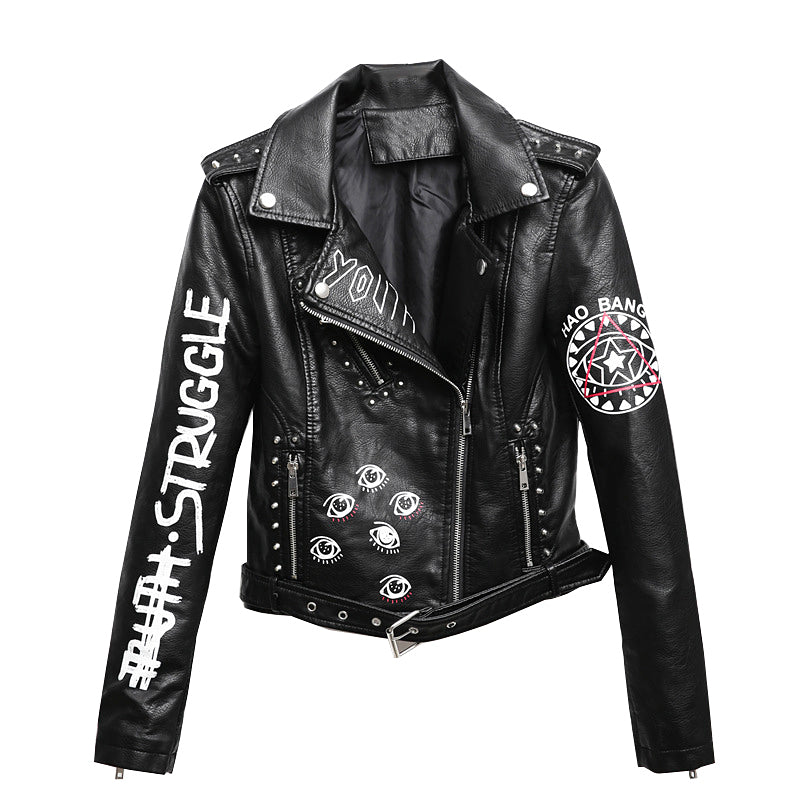 Rocker Girl Outfit / Faux Soft Leather Motorcycle Jacket - HARD'N'HEAVY