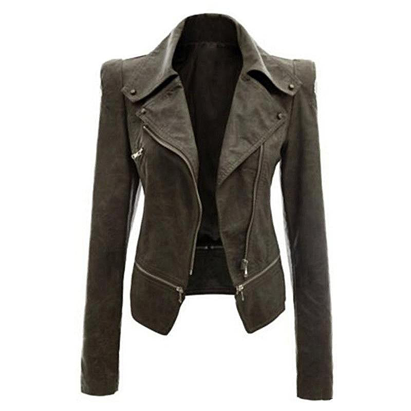 Rocker Girl Outfit / Slim Female Motorcycle Biker Jackets with Long Sleeve - HARD'N'HEAVY