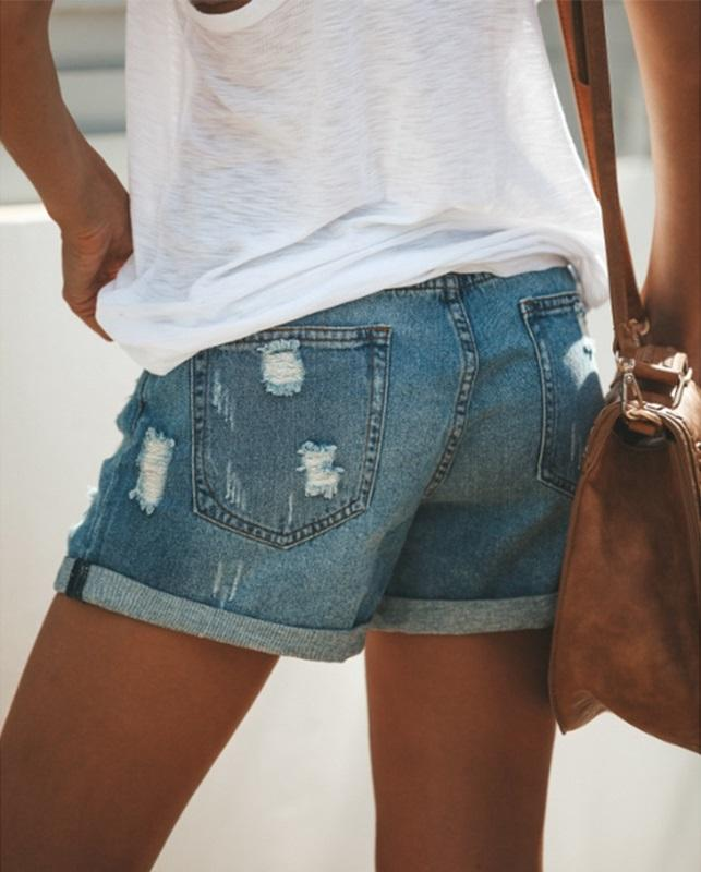Rocker Girl Outfit / Women Jeans Shorts / Skinny Slim Sexy Short Shorts with Holes - HARD'N'HEAVY