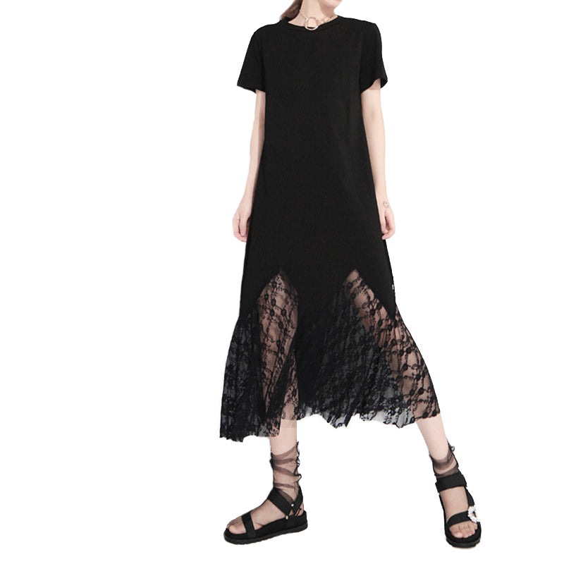Round Neck Short Sleeve Dress with Cutted Wings / Black Lace Hollow Out Loose Long Temperament Dress - HARD'N'HEAVY