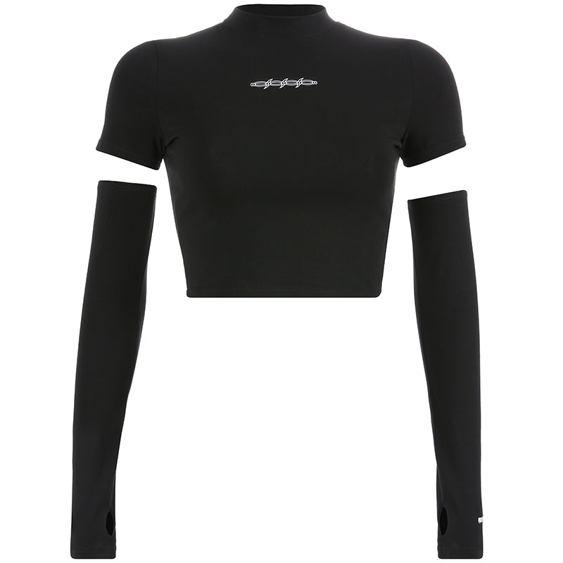 Round Neck Women's Long Sleeve Crop Tops / Female Rave Outfits - HARD'N'HEAVY