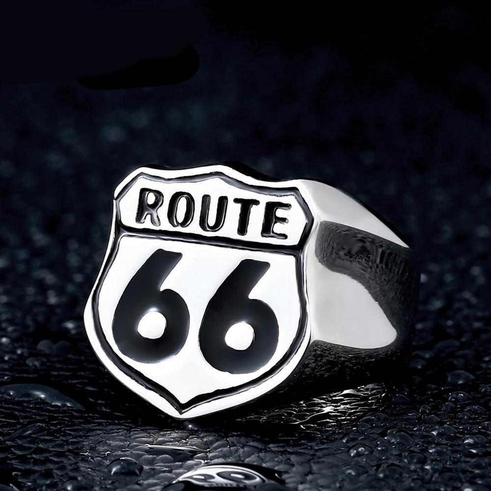 Route 66 Ring in Rock Style / Vintage Stainless Steel Biker Jewelry - HARD'N'HEAVY