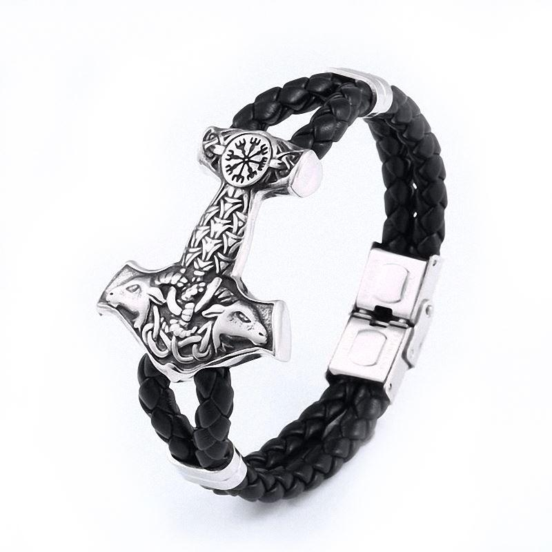 Scandinavian Thor's Hammer Bracelet Viking Style Stainless Steel North - HARD'N'HEAVY