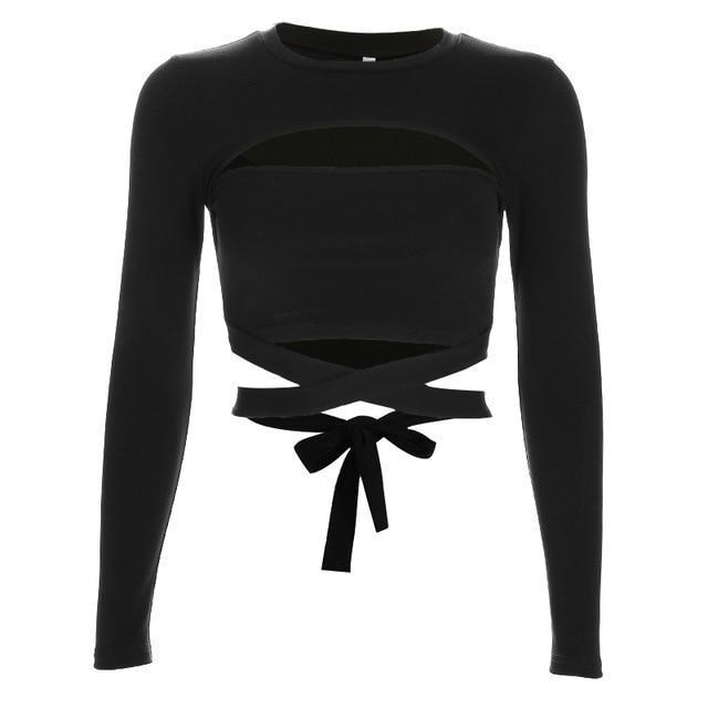 Sexy Black Hollow Cotton Crop Top - HARD'N'HEAVY