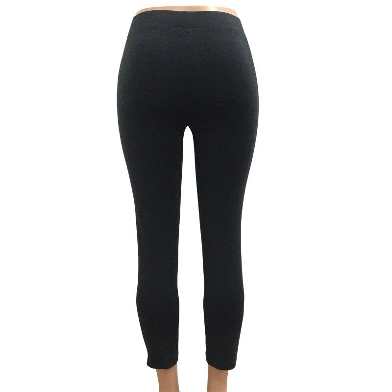 Sexy Black Women Lace Up Leggings with Holes / High Waist Hollow Slim Pencil Pants in Rock Style - HARD'N'HEAVY