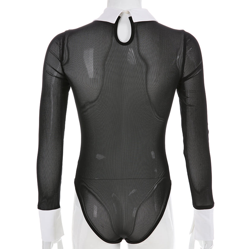 Sexy Bodysuit with Transparent Mesh / Women's Long Sleeve Open Crotch Bodysuits / Turn-down Collar - HARD'N'HEAVY