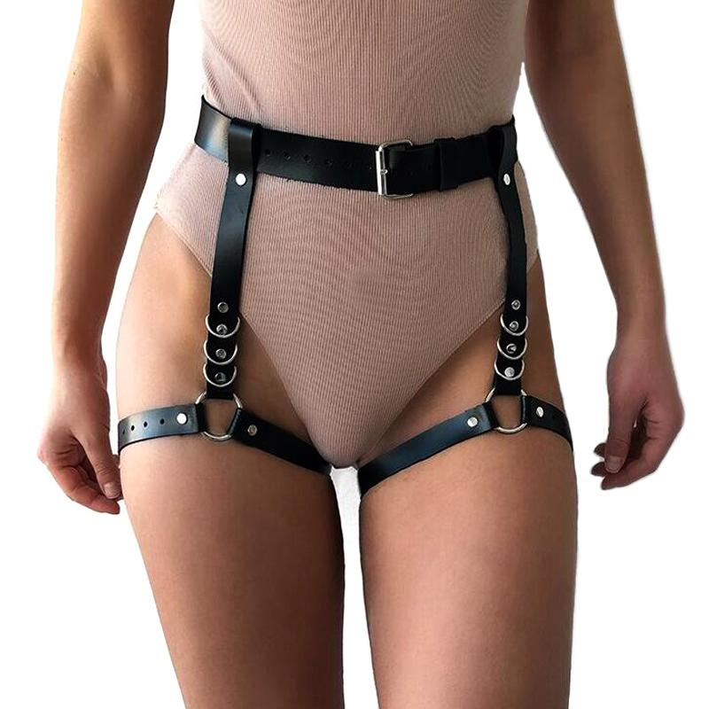 Sexy Chain Black Leather Leg Body Harness / Gothic Bondage Body Chain Accessories - HARD'N'HEAVY
