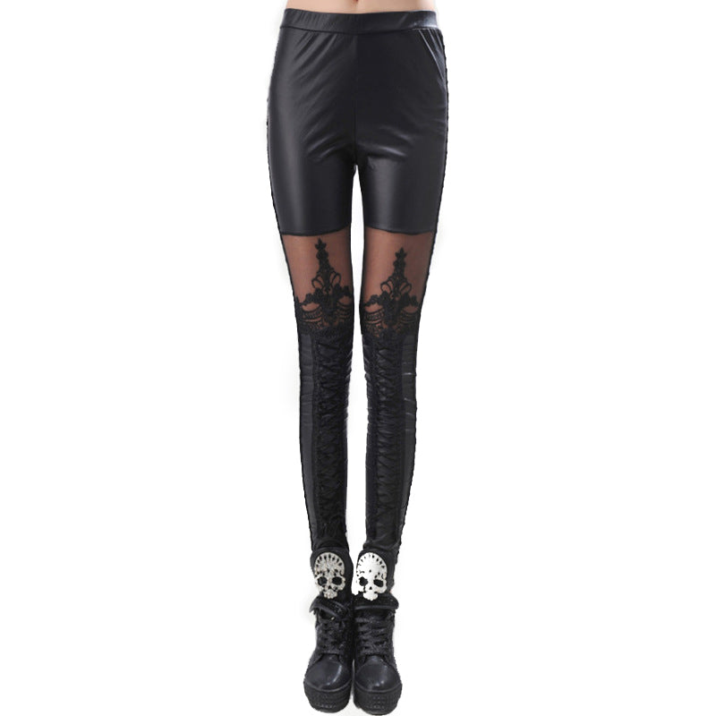 Sexy Faux Leather Black Legins / Gothic Women Pants in Alternative Fashion - HARD'N'HEAVY