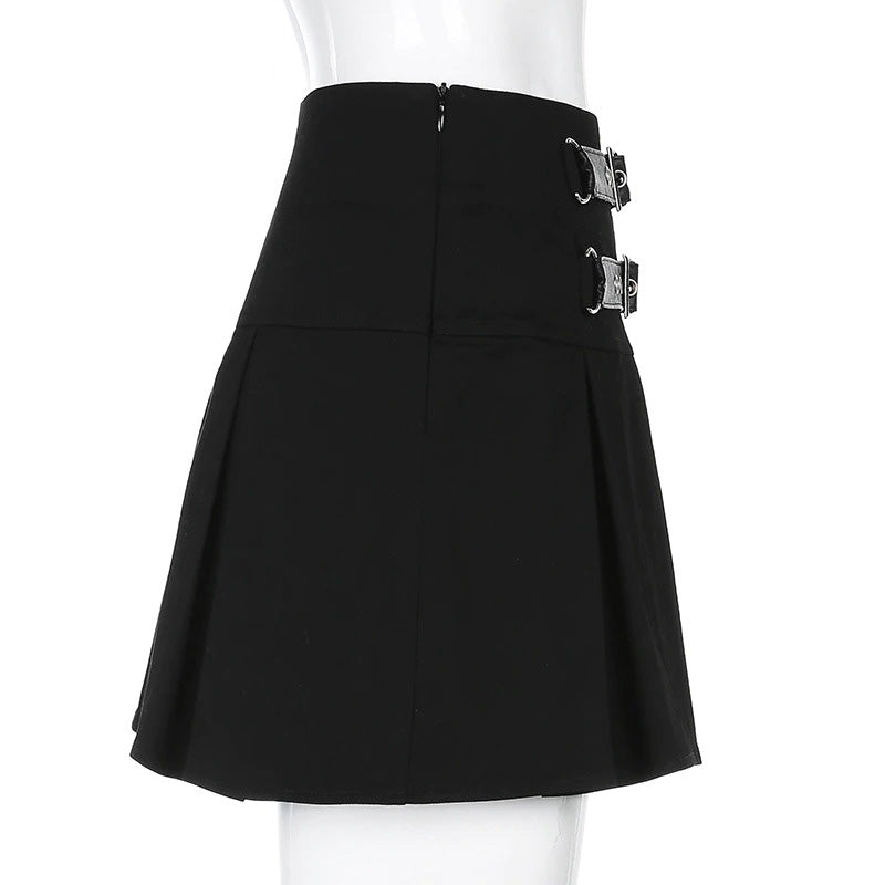 Sexy Gothic Black Mini Skirt /  Women's Pleated High Waist Skirt with Rivets