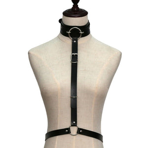 Sexy Harajuku PU Leather Body Harness / Choker Collar With Metal Ring / Cosplay Erotic Outfit