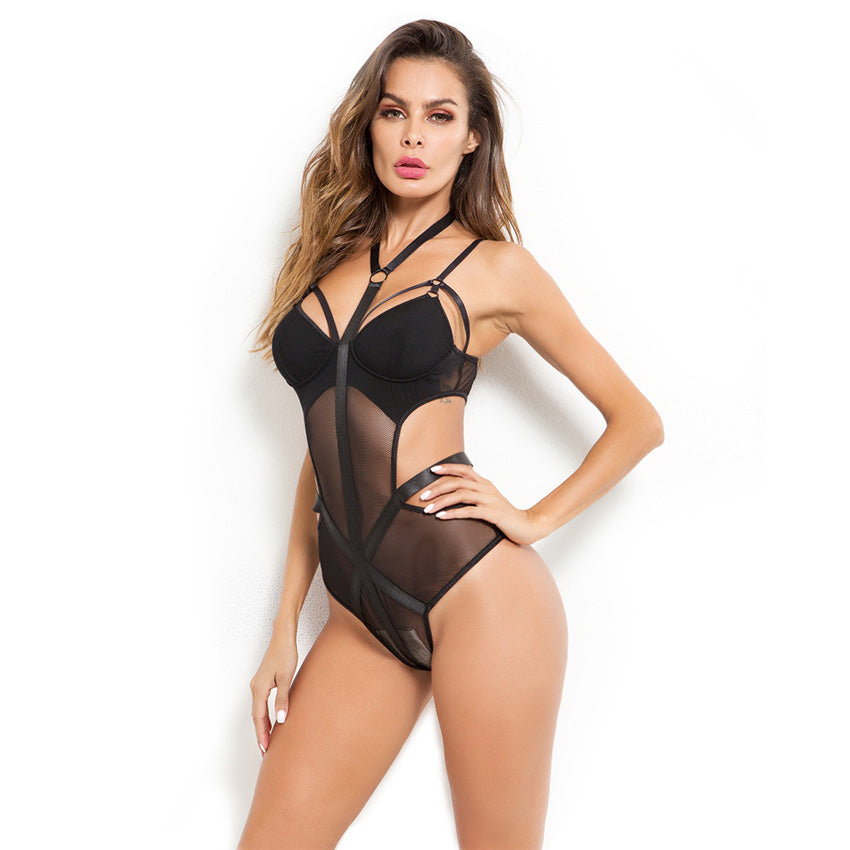 Sexy Lace Bodysuit / Women Body Bandage Patchwork / Mesh Black Halter - HARD'N'HEAVY