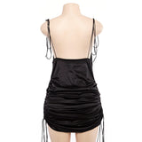Sexy Spaghetti Straps Women's Black Dresses / Summer Hollow Out Female Party Night Dress - HARD'N'HEAVY