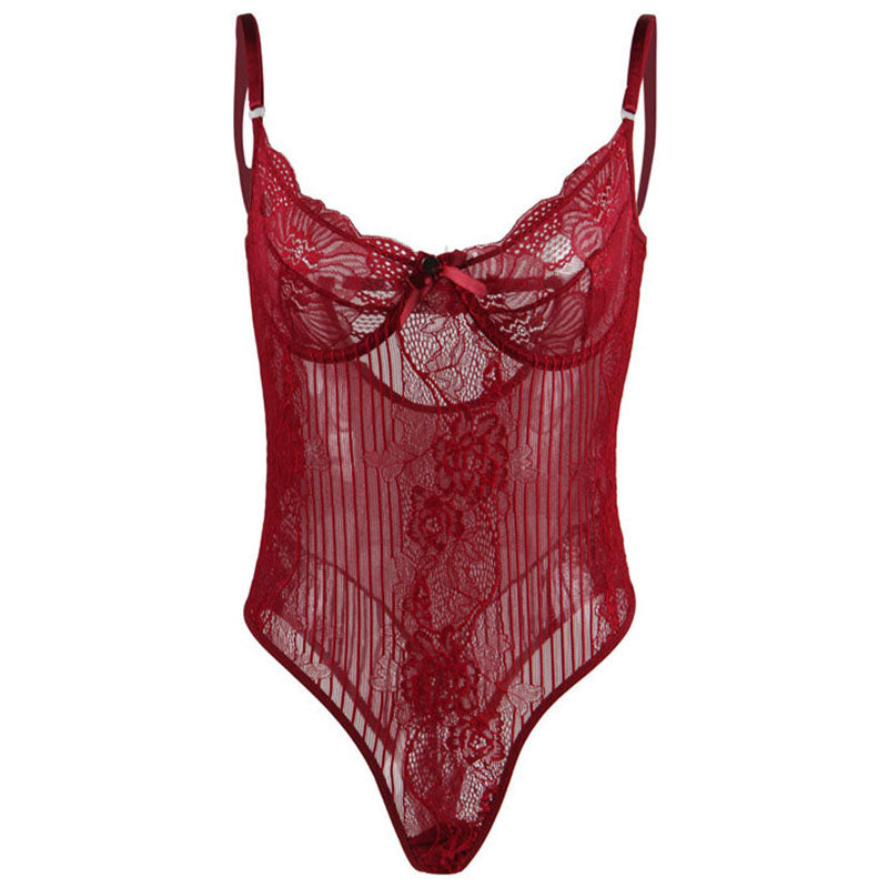 Sexy Transparent Floral Lace Body for Woman / Sleeveless Sheer Bodysuits in Gothic Style - HARD'N'HEAVY
