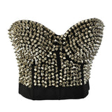 Sexy Women Bra with Spikes / Rock Style Stud Rivet Bra in Gold and Silver Color
