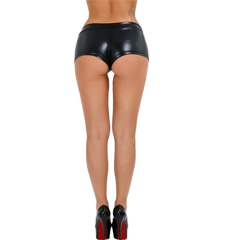 Sexy Women's Short Shorts in Rock Style / Shiny Faux Leather Shorts / Erotic Sexy Stage Wear - HARD'N'HEAVY