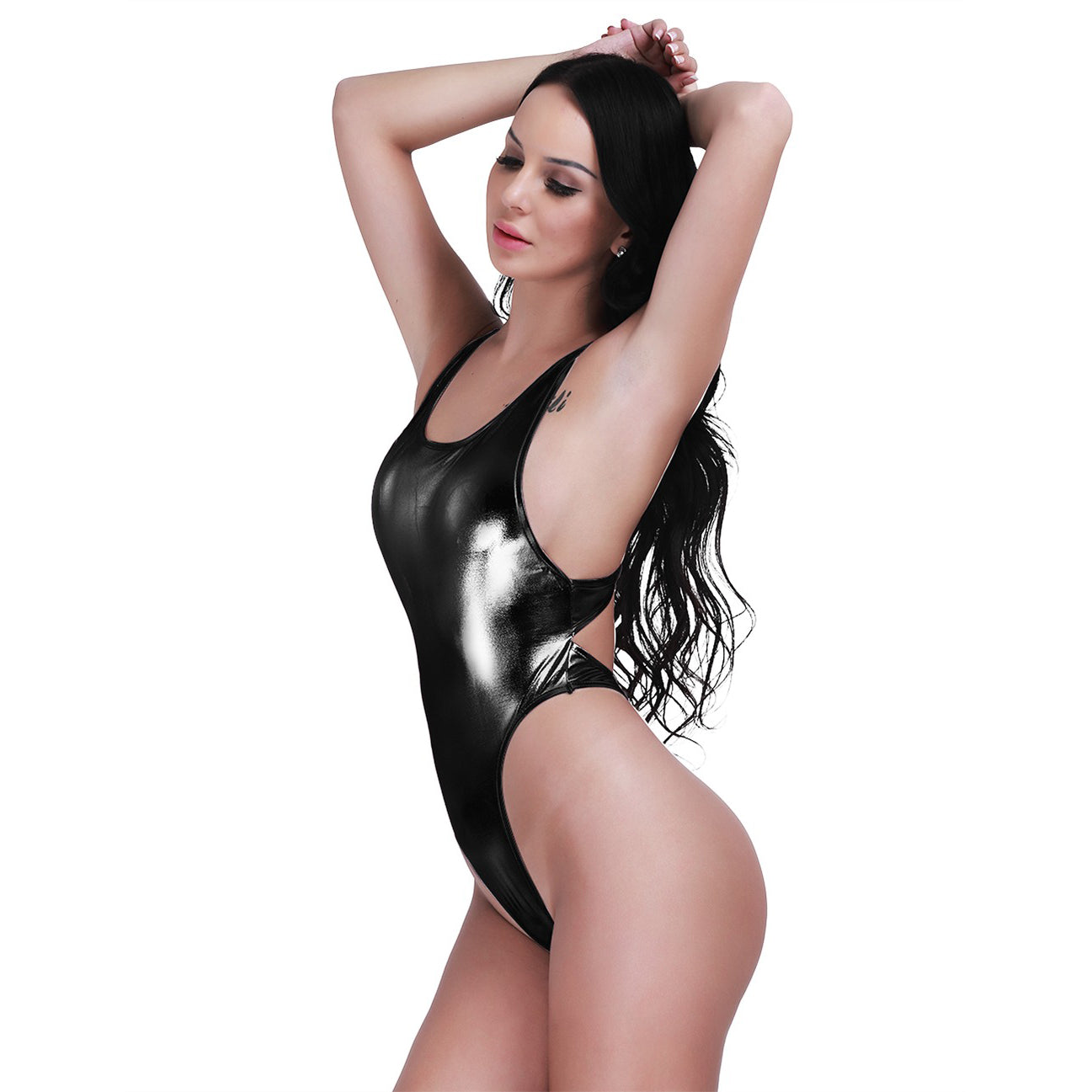 Shiny Latex Women's Bodysuit / Thong Sexy Leotard BodySuit / Faux Leather Erotic One Piece Costume - HARD'N'HEAVY