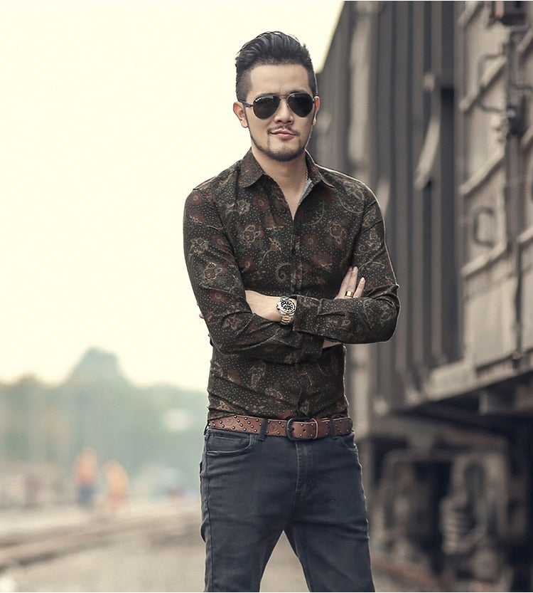 British Fashion Shirt for Men / Alternative Style Long Sleeves Cotton Shirt - HARD'N'HEAVY