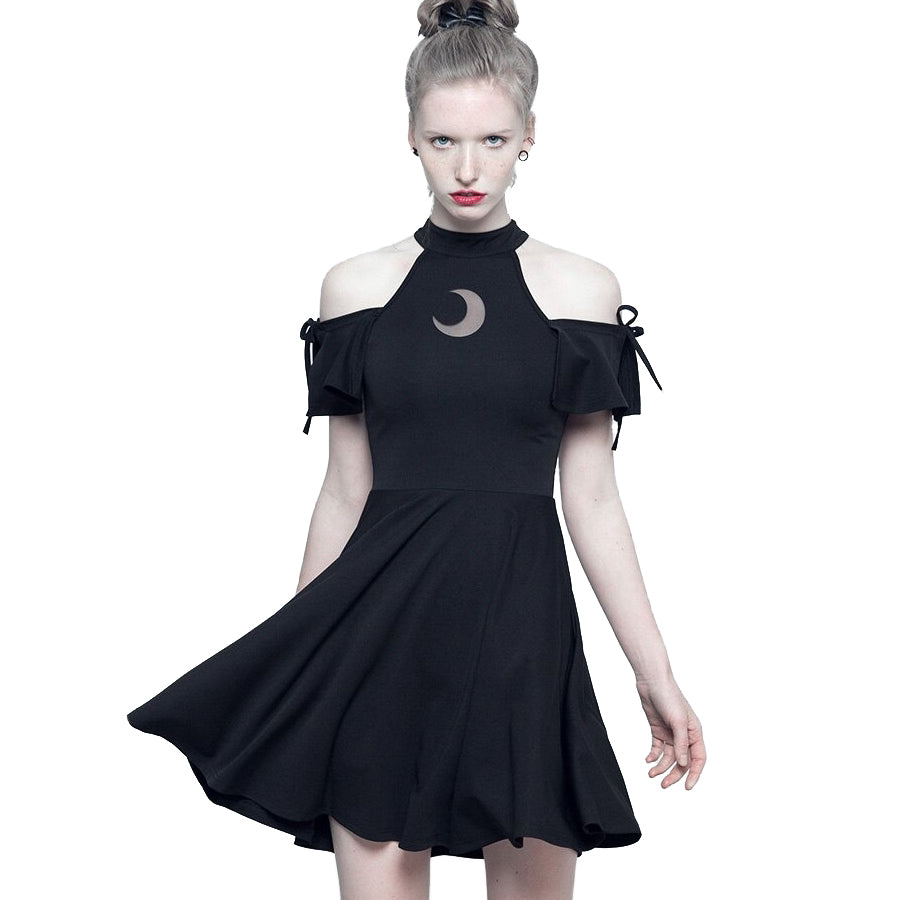 Short Sleeve Sexy Women Gothic Dress / Witchy Clothing with Moon Print - HARD'N'HEAVY