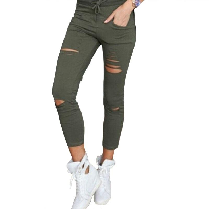 Shredded High Waist Rock & Metal style Women's Pants / Alternative outfits Rock chick Cotton - HARD'N'HEAVY