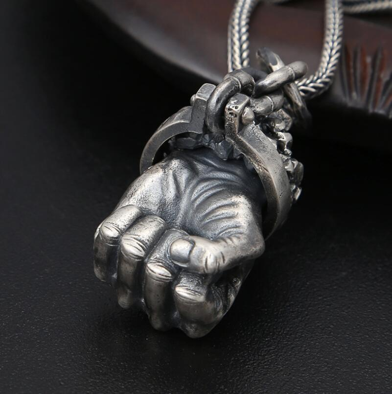 Hercules Fist Sterling Strong Arm Pendant / Rock Style Jewelry - HARD'N'HEAVY