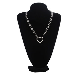Silver Color Chain Necklace / Gothic Heart Shape Pendant Necklace / Witch Festival Fashion Jewelry