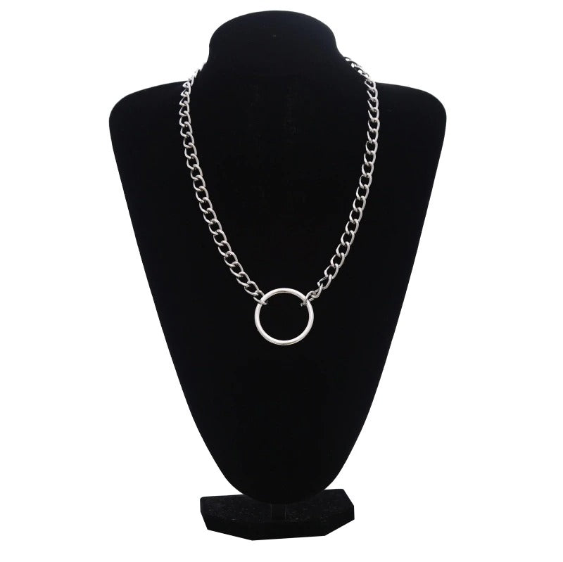 Silver Color Chain Necklace / Gothic Ring Shape Pendant Necklace / Witch Festival Fashion Jewelry - HARD'N'HEAVY