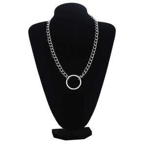 Silver Color Chain Necklace / Gothic Ring Shape Pendant Necklace / Witch Festival Fashion Jewelry