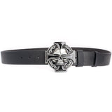 Silver Skull Cross Belt in Rock Style / Metal Buckle Flame Skull Belt - HARD'N'HEAVY