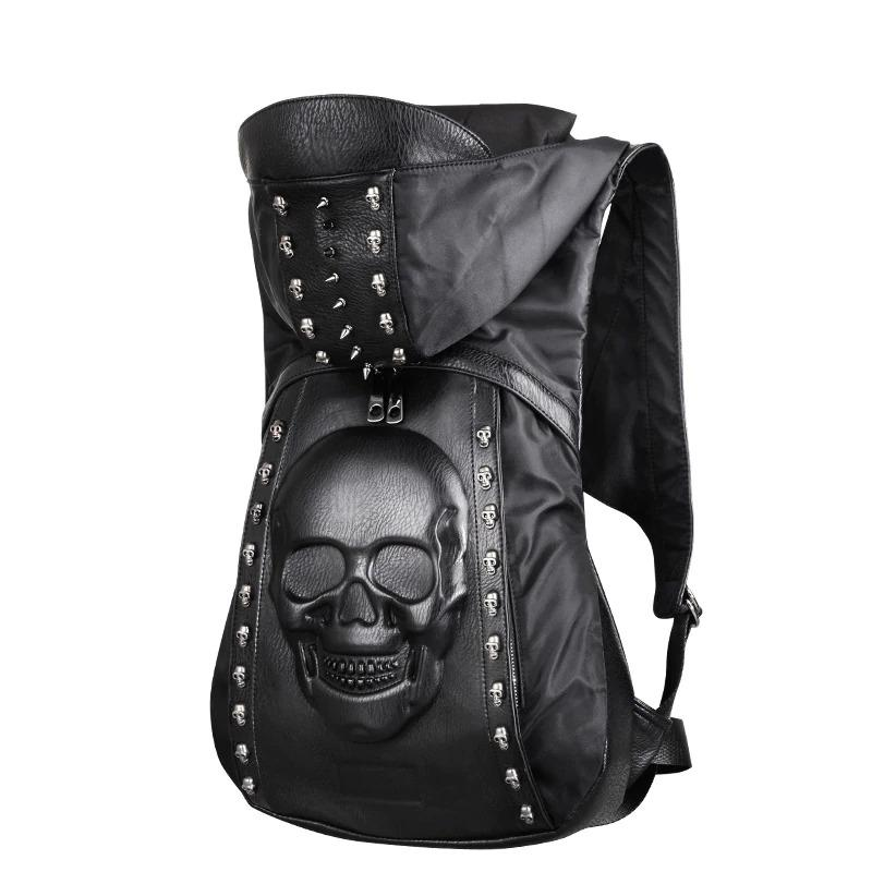 Skull Backpack with Rivets & Hood / Alternative fashion