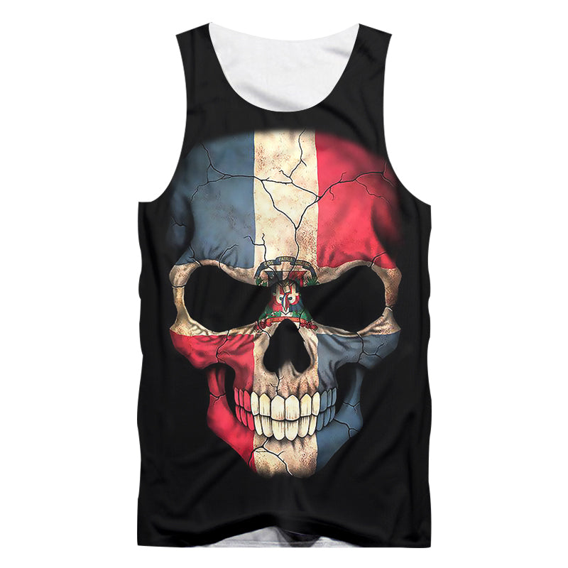 Skull Print Tank Top Man / O-neck Sleeveless Shirts & Gyms Clothes / Grunge style - HARD'N'HEAVY