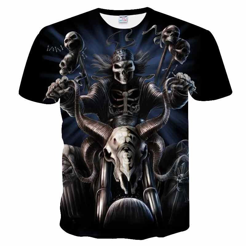 Skull Reaper Printed Tees in Rock Style / 3D Print T-shirt for Men and Women / Short Sleeve Tops #8 - HARD'N'HEAVY
